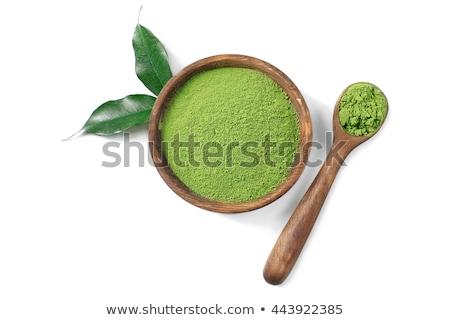 Zöld tea por mér merítőkanál organikus izolált Stock fotó © PixelsAway