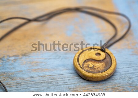 azul · yin · yang · símbolo · branco · paz · chinês - foto stock © pixelsaway
