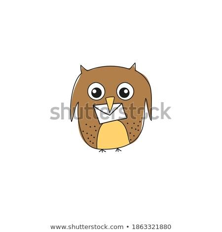 Eule Briefträger Niederlassungen Illustration Vogel Job Stock foto © adrenalina