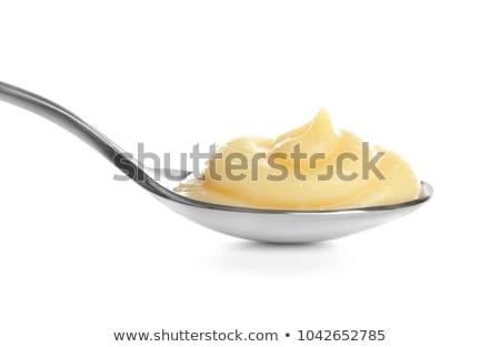 Lepel vla voedsel dessert room zoete Stockfoto © Digifoodstock