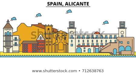 Carte postale ville Espagne ciel eau soleil Photo stock © sebikus