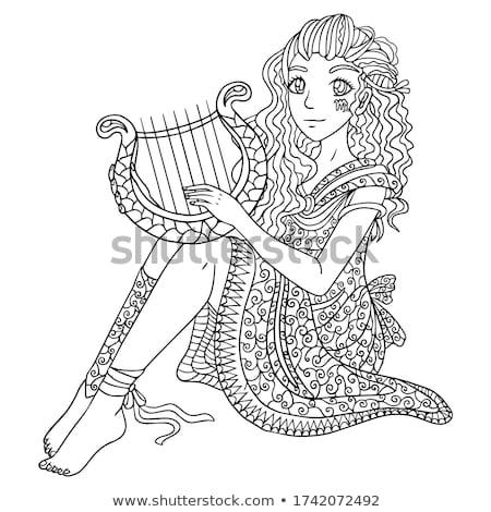 Vetor elegante senhora antigo harpa gráfico Foto stock © Mamziolzi