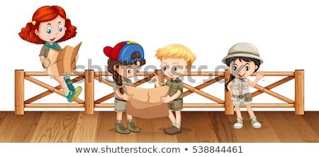 fiú · olvas · híd · illusztráció · fű · férfi - stock fotó © bluering