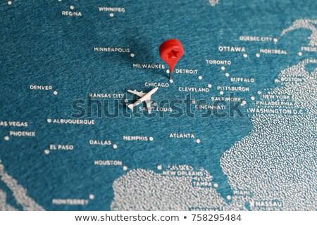 Chicago város tő térkép út földgömb Stock fotó © alex_grichenko