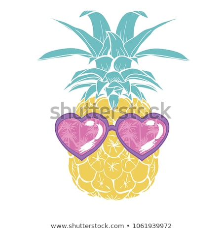 Stock photo: Pineapple with heart sunglasses
