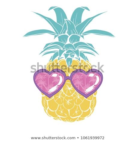 Pineapple with heart sunglasses Stock photo © BarbaraNeveu