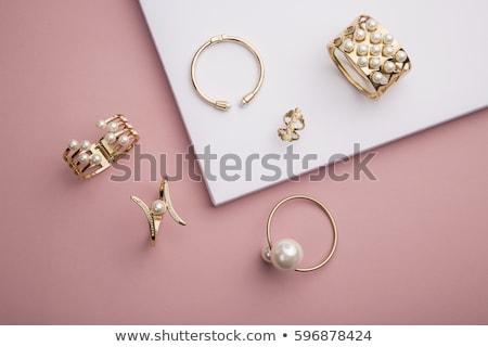 ékszerek · szett · nyaklánc · gyűrű · fülbevalók · izolált - stock fotó © robuart