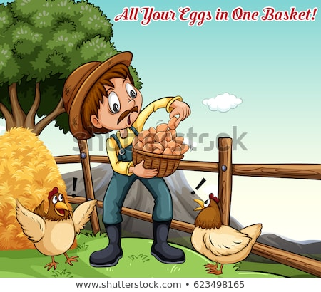 Idiom poster for all your eggs in one basket Stock photo © bluering