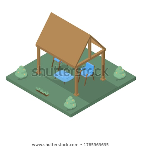 Wooden cottage and pavilion Stock photo © bluering