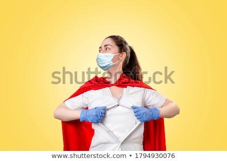 Kaukázusi orvos visel piros szuperhős köpeny Stock fotó © RAStudio