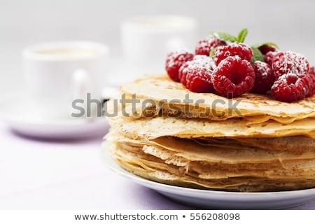 Pannenkoek framboos voedsel ontbijt dessert maaltijd Stockfoto © M-studio
