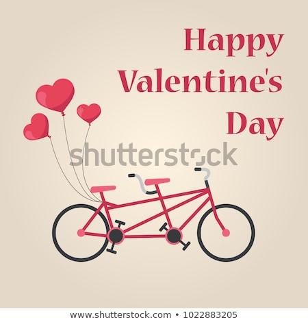 Tandem bicikli szívek léggömbök valentin nap üdvözlet Stock fotó © NikoDzhi
