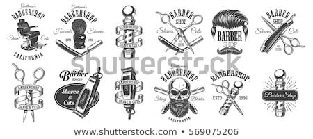 Barber shop logo. Emblem of hairdresser for men. Haircut beard s Stock photo © popaukropa