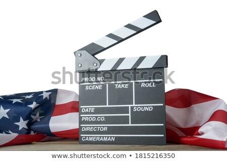 American flag and slate on wooden table Stock photo © wavebreak_media