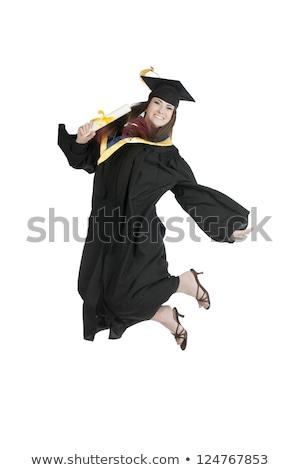 atraente · estudante · graduação · boné · diploma · saltando - foto stock © LightFieldStudios