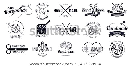set of vintage handcrafted emblems labels logos isolated on a white background sketching filled stock photo © jeksongraphics