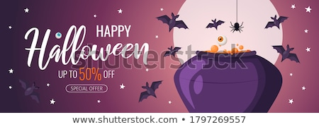 halloween sale vector poster template illustration with moon and bats on orange sky background desi stock photo © articular