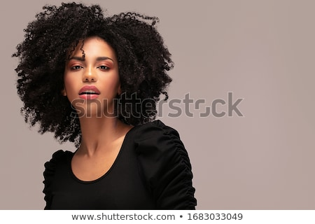 beauty portrait of smiling girl with afro hairstyle stock photo © neonshot