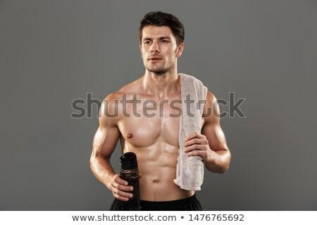 серьезный сильный спортсмен изолированный белый изображение Сток-фото © deandrobot