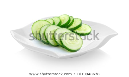 Stock photo: plate of sliced cucumber