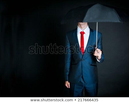 jonge · man · paraplu · bitcoin · munten · jonge · kaukasisch - stockfoto © rastudio