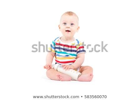 Sevimli neşeli bebek erkek renkli gömlek Stok fotoğraf © Traimak