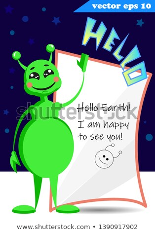 Happy Green Monster Cartoon Emoji Character Waving For Greeting With Speech Bubble And Text Yo! Stock photo © hittoon