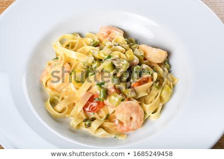 Tagliatelle karides sos makarna öğle yemeği Stok fotoğraf © M-studio