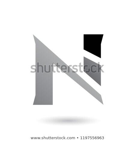 Szürke szeletel n betű vektor illusztráció izolált Stock fotó © cidepix
