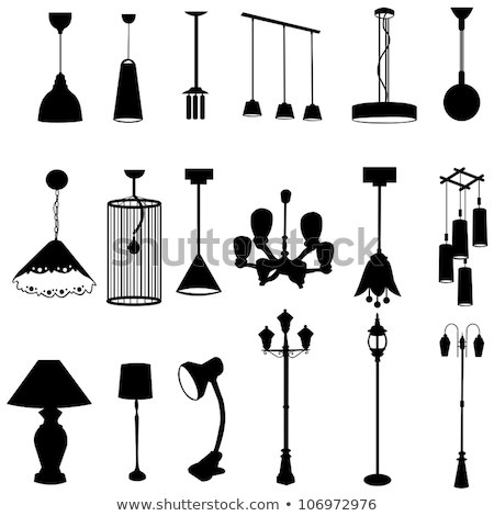 Decorative hanging lamp with the image of a silhouette of a witch flying on a broom. Element of inte Stock photo © Lady-Luck