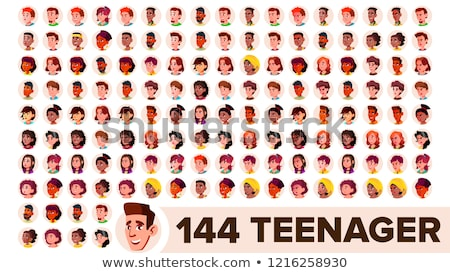 teen boy avatar set vector black afro american face emotions high child pupil small junior c stock photo © pikepicture