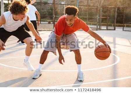 играет · баскетбол · изображение · пару · сын - Сток-фото © deandrobot