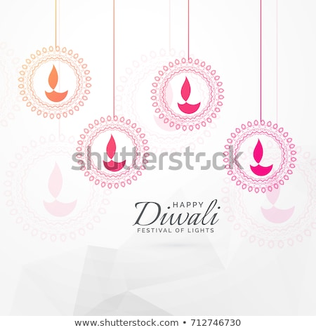 indian diwali festival greeting with hanging diya design Stock photo © SArts