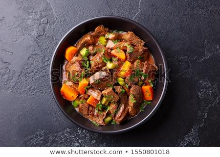 Marhapörkölt háttér hús zöldségek dzsúz friss Stock fotó © FOKA