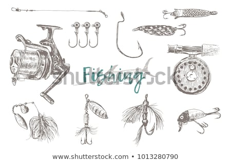 Fisherman with fish in hands and tackle sketch Stock photo © robuart