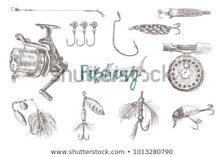 Pescador peces manos boceto mano barra Foto stock © robuart