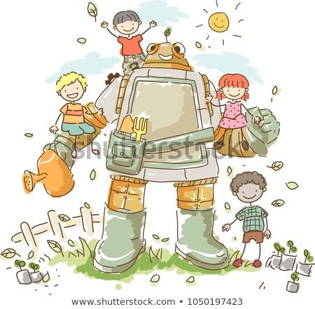 Stickman Kids Robot Garden Illustration Stock photo © lenm