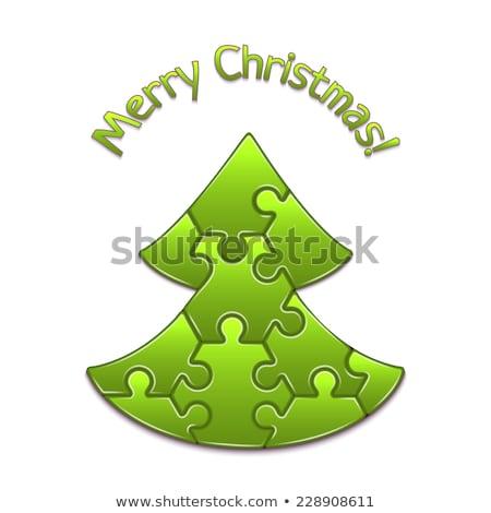 Stockfoto: Groene · puzzel · kerstboom · teken · geïsoleerd · witte