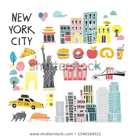 i love new york banner with american flag and buildings stock photo © colematt