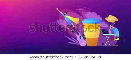 Stock fotó: Kávészünet · fejléc · szalag · férfi · ül · fáradt