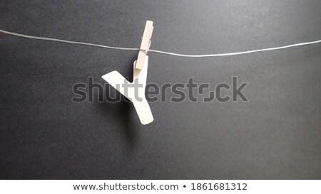 Prendedor de roupa carta isolado branco madeira Foto stock © boggy