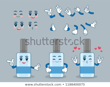 happy water plastic bottle cartoon mascot character wearing a foam finger stock photo © hittoon