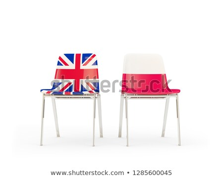 Two chairs with flags of UK and poland isolated on white Stock photo © MikhailMishchenko