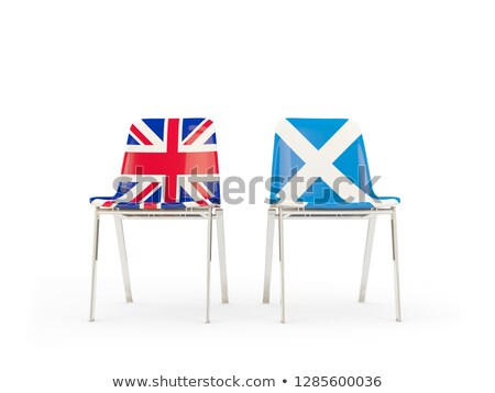 Two chairs with flags of UK and scotland isolated on white Stock photo © MikhailMishchenko