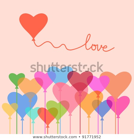 happy valentines day background red pink and orange balloon in form of heart with bow and ribbon a stock photo © olehsvetiukha