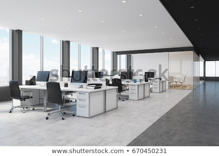 Office interior with modern comfortable workspace - computer desk, orthopaedic chair and natural day Stock photo © artjazz