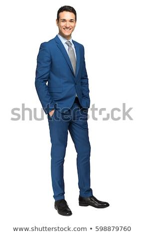 portret · gelukkig · jonge · zakenman · pak · praten - stockfoto © deandrobot