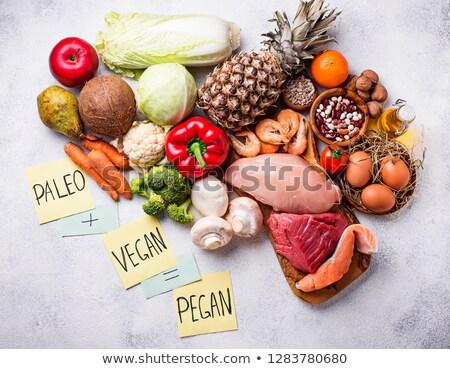 Pegan diet. Paleo and vegan products Stock photo © furmanphoto
