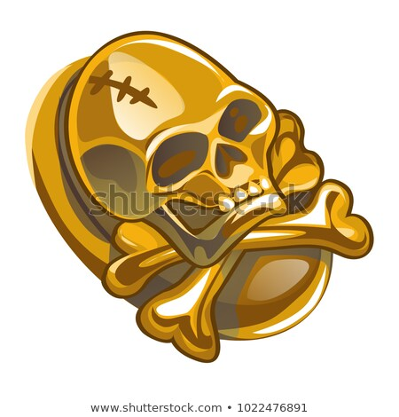 Gold pirate symbol in the form of human skull and crossbones isolated on white background. Vector ca Stock photo © Lady-Luck