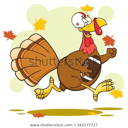football turkey bird cartoon character running in thanksgiving super bowl stock photo © hittoon